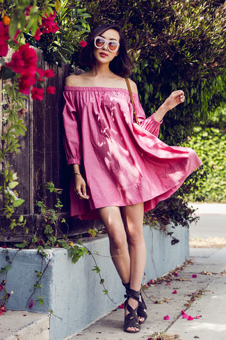 How to Wear Pink Sunglasses For Women: A hot pink off shoulder dress and pink sunglasses are the kind of stylish casual pieces that you can wear for years to come. Take your look down a classier path by rounding off with charcoal suede heeled sandals.