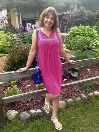 How to wear: hot pink peasant dress, white thong sandals, blue leather crossbody bag