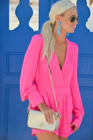 How to wear: hot pink playsuit, gold leather crossbody bag, black and gold sunglasses, aquamarine earrings