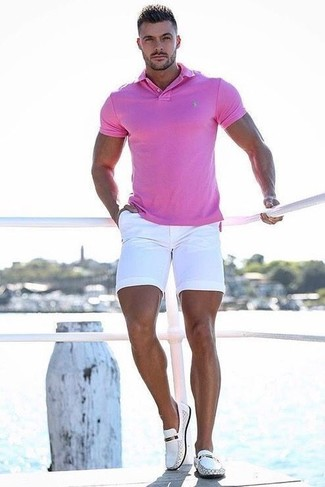 1a6c387eb96 How to Wear a Hot Pink Polo For Men (10 looks   outfits)
