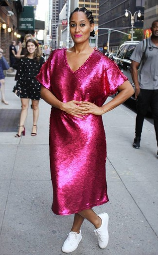How to wear: hot pink sequin midi dress, white low top sneakers