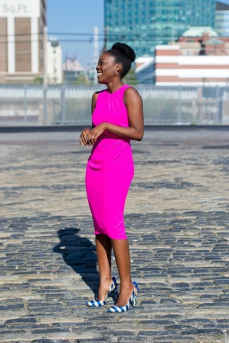How to wear: hot pink sheath dress, blue horizontal striped leather pumps