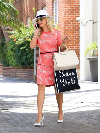 Reese Witherspoon wearing Hot Pink Floral Sheath Dress, White Leather Pumps, Beige Leather Tote Bag, White Straw Hat