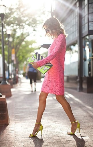 How to wear: hot pink lace shift dress, green-yellow suede heeled sandals, green-yellow print leather clutch, black sunglasses
