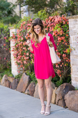 How to wear: hot pink shift dress, pink suede heeled sandals, white leather tote bag, gold bracelet