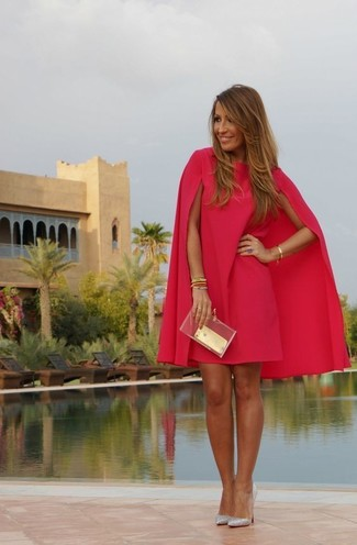 How to wear: hot pink shift dress, silver sequin pumps, clear clutch
