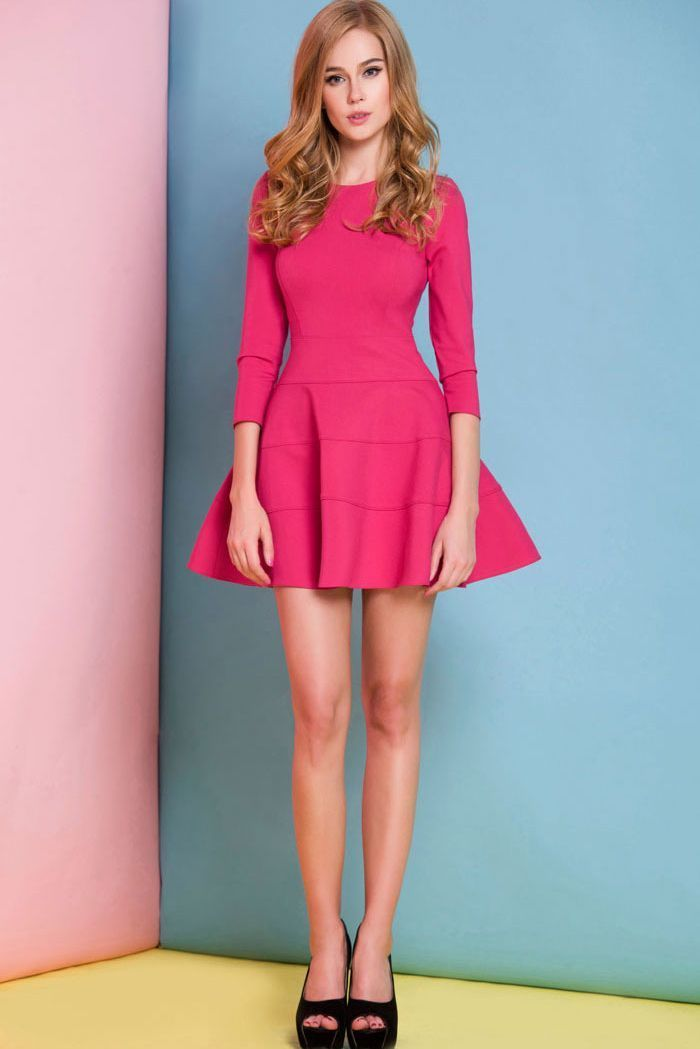 Hot Pink Skater Dress | Women's Fashion
