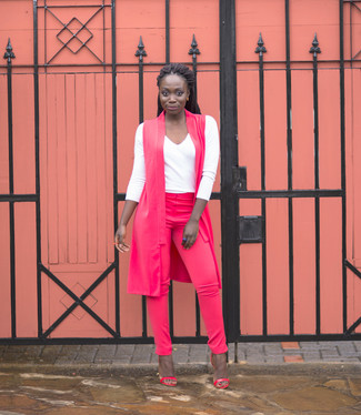 How to wear: hot pink sleeveless coat, white long sleeve t-shirt, hot pink skinny pants, hot pink leather heeled sandals