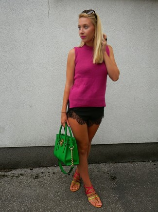 How to wear: hot pink sleeveless top, black lace shorts, hot pink leather thong sandals, green leather tote bag