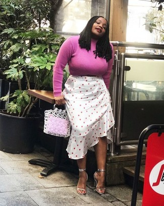 How to wear: hot pink turtleneck, white polka dot midi skirt, silver leather heeled sandals, white crochet tote bag