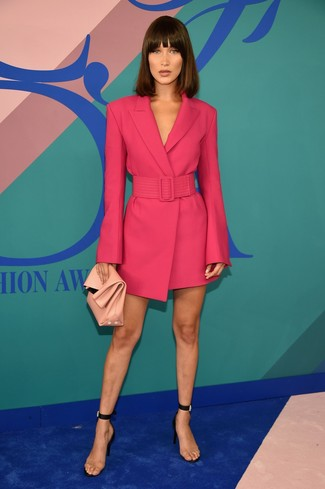 How to Wear a Pink Leather Clutch: Pair a hot pink tuxedo dress with a pink leather clutch for an outfit that's both off-duty and neat. Bring an instant sultry vibe to this ensemble by rocking a pair of clear rubber heeled sandals.