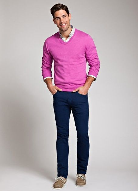 How to Wear a Pink V-neck Sweater (8 looks) | Men's Fashion