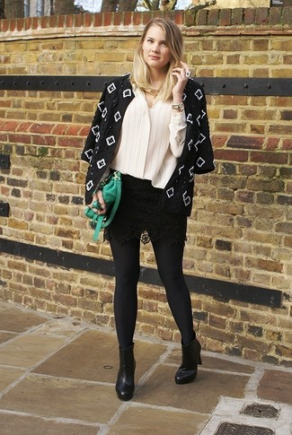 Consider wearing a black and white embroidered jacket and a black lace mini skirt for both chic and easy-to-wear look. A cool pair of black leather ankle boots is an easy way to upgrade your look.