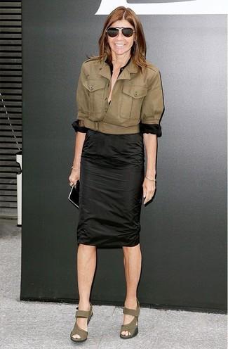 Jacket button down blouse pencil skirt wedge sandals sunglasses large 12327