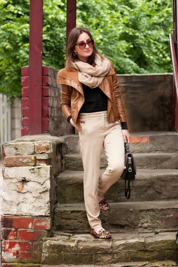 Women's Tobacco Leather Jacket, Black Cardigan, Beige Dress Pants ...
