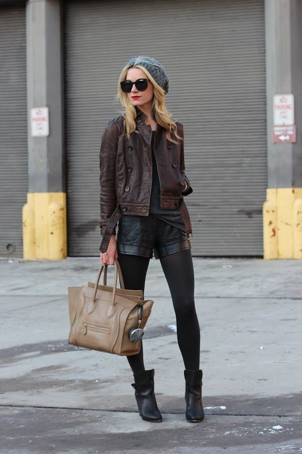 How to Wear a Dark Brown Leather Jacket (80 looks) | Women's Fashion