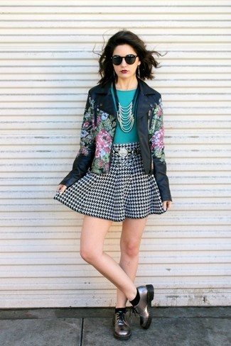 Women's Black Floral Leather Jacket, Teal Crew-neck T-shirt, Black and White Houndstooth Skater Skirt, Silver Leather Derby Shoes
