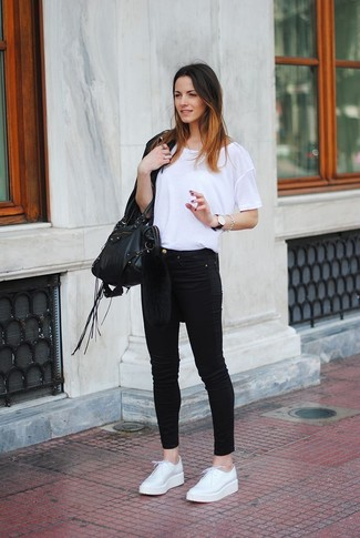 How to wear: black fringe leather jacket, white crew-neck t-shirt, black skinny jeans, white leather derby shoes
