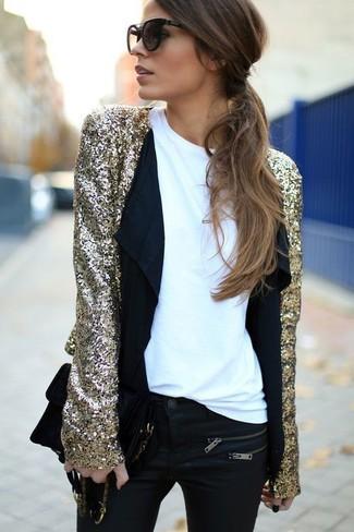 Women's Gold Sequin Jacket, White Crew-neck T-shirt, Black Skinny ...