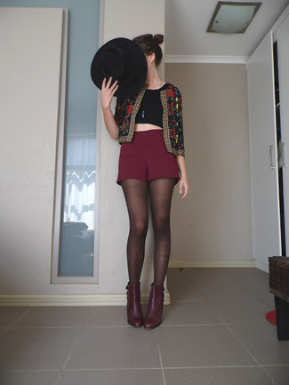Women's Black Embroidered Jacket, Black Cropped Top, Burgundy Shorts, Burgundy Leather Ankle Boots
