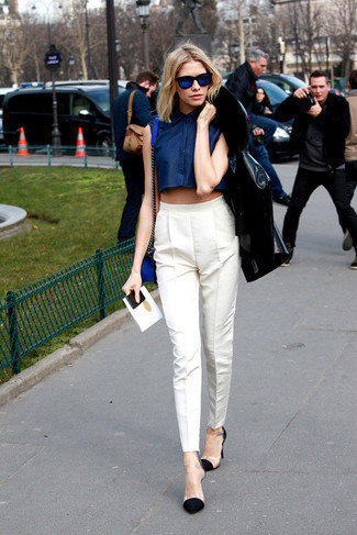 Women's Black Leather Jacket, Navy Cropped Top, White Skinny Pants ...