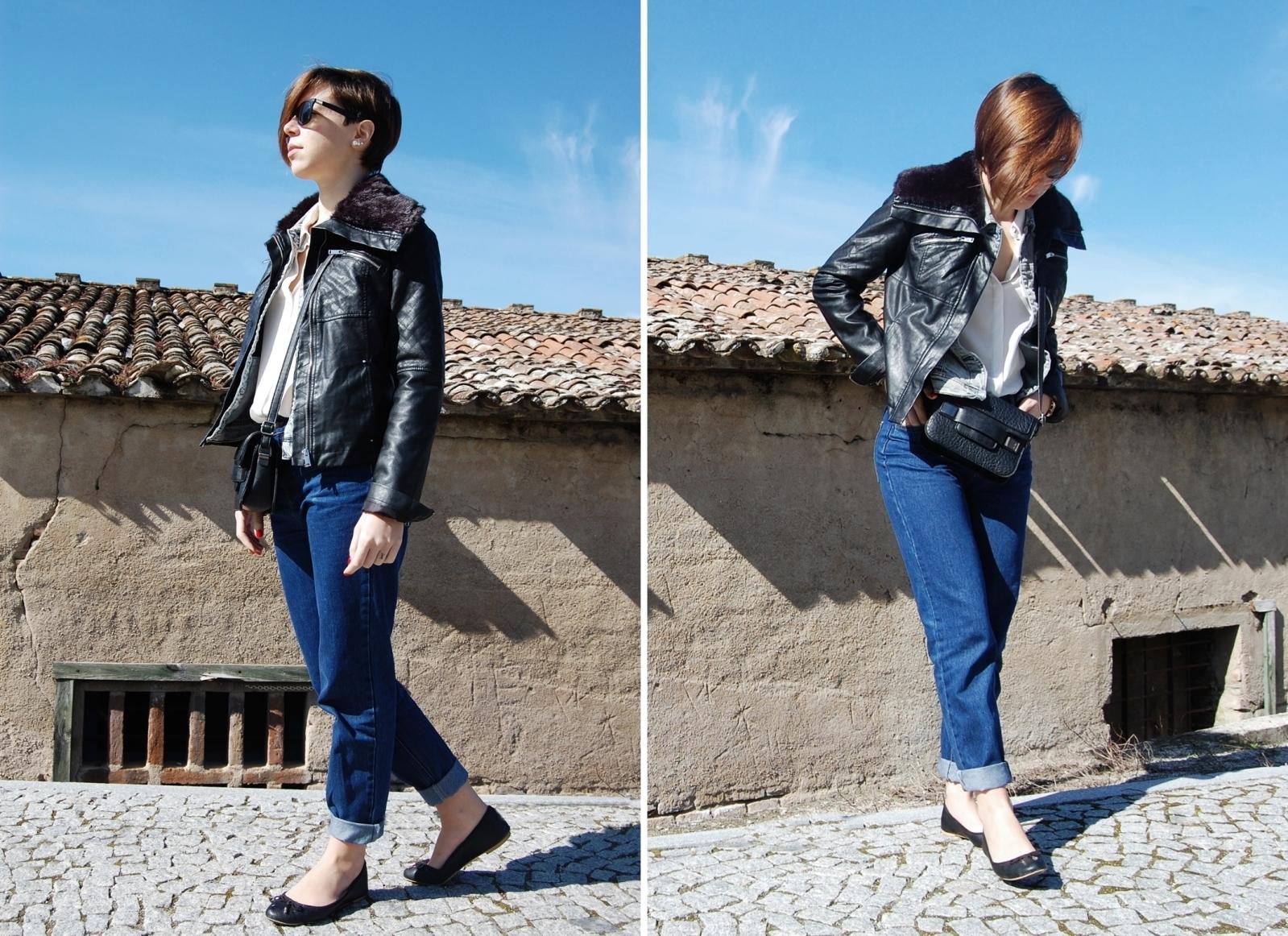Women 39 s black leather jacket blue denim jacket white for Boyfriend jeans mit netzstrumpfhose