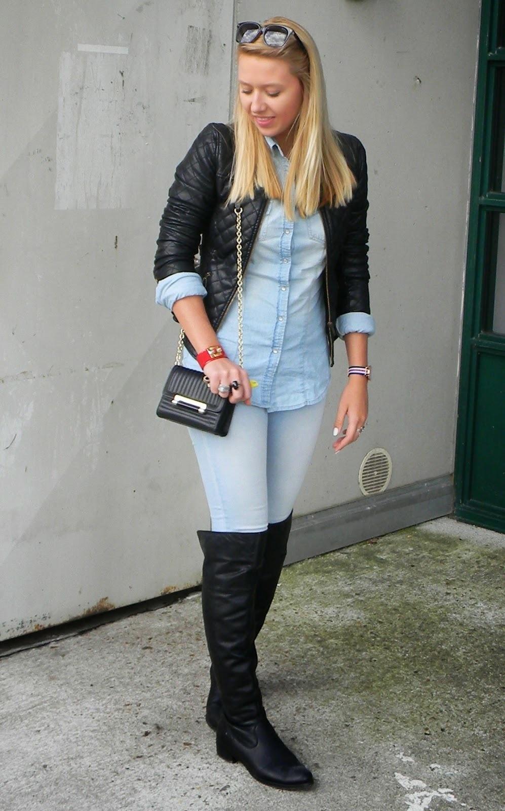 Women&39s Black Leather Jacket Light Blue Denim Shirt Light Blue