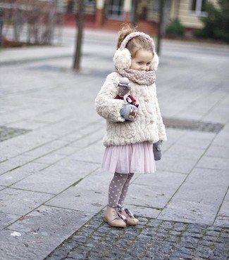 How to wear: white fur jacket, pink tulle dress, beige boots, grey gloves
