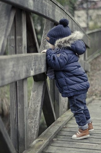 Dress your kid in a navy jacket and navy jeans for a fun day out at the playground. Round off this getup with brown boots.