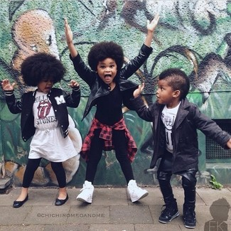 How to Wear a Black Leather Jacket For Girls: Dress your little girl in a black leather jacket and black leggings for a fun day in the park. This outfit is complemented wonderfully with white sneakers.