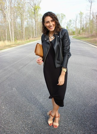 This combo of a black leather jacket and a black maxi dress will attract attention for all the right reasons. Why not introduce cream leather heeled sandals to the mix for an added touch of style?