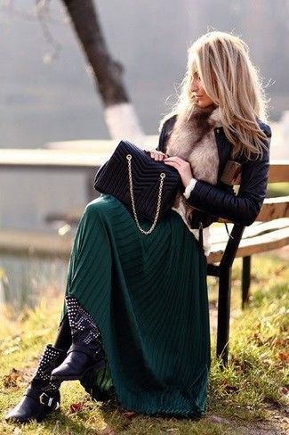 A black leather jacket and a hunter green pleated maxi skirt feel perfectly suited for weekend activities of all kinds. Add black studded leather ankle boots to your look for an instant style upgrade.