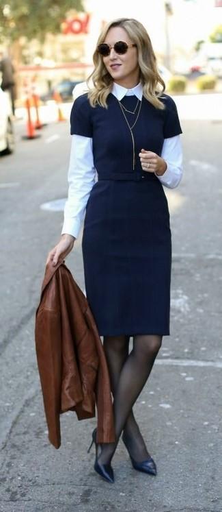 Women's Brown Leather Jacket, Black Sheath Dress, White Dress Shirt, Black Leather Pumps