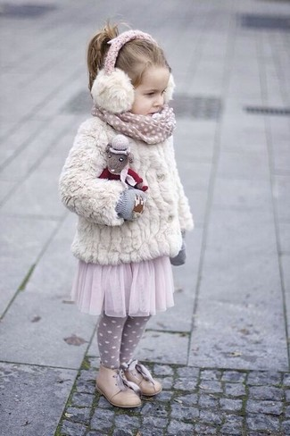 How to wear: white fur jacket, pink tulle skirt, beige oxford shoes, grey gloves
