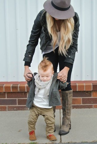 How to Wear a Grey Scarf For Boys: Choose an olive jacket and a grey scarf for your tot for a fun day in the park. Tan boots are a good choice to complement this ensemble.