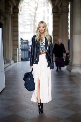 A black leather jacket and a white pleated maxi skirt feel perfectly suited for weekend activities of all kinds. A pair of black leather lace-up ankle boots will seamlessly integrate within a variety of outfits.
