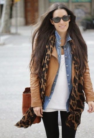 Consider teaming a tan leather jacket with black leggings to bring out the stylish in you.