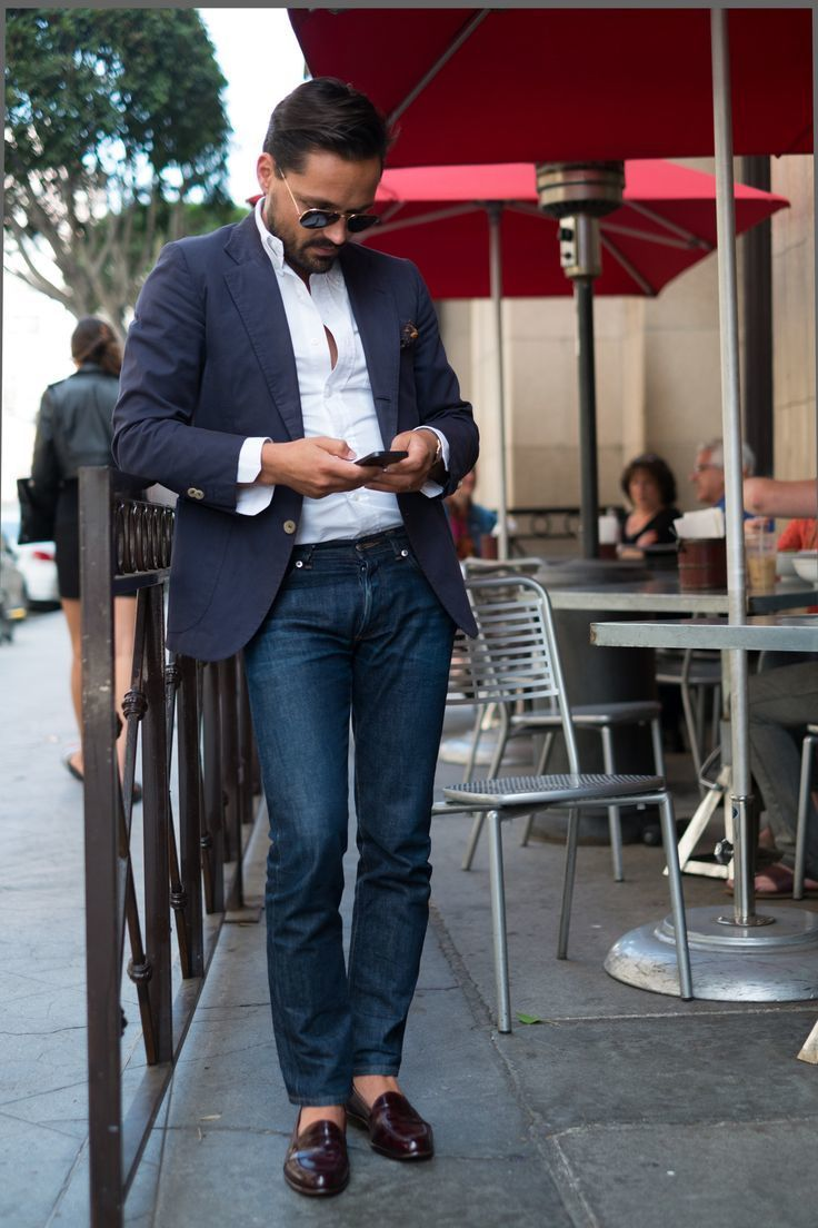 jeans-and-loafers-and-blazer-and-longsleeve-shirt-and ...