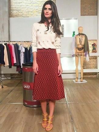 b08c0895c Look de moda: Jersey con cuello circular con adornos en beige, Falda ...