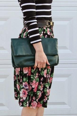 Falda midi con print de flores negra de Glamorous