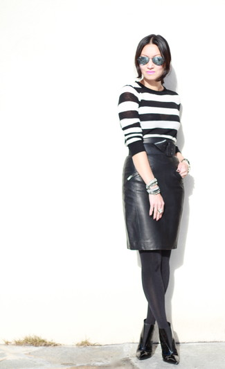 Jersey con cuello circular de rayas horizontales en blanco y negro de Jason Wu