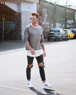 b16e08fd19961 Moda para Hombres › Moda para hombres de 30 años Look de moda  Jersey con cuello  circular gris