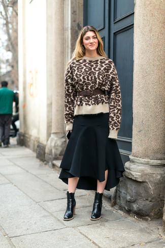 5d28acad91 Look de moda  Jersey con cuello circular de leopardo marrón claro ...
