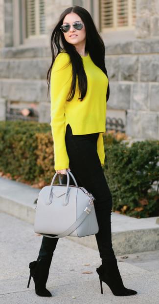 Jersey con cuello circular amarillo de Jil Sander