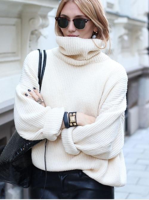 Look de moda: Jersey de cuello alto de punto blanco