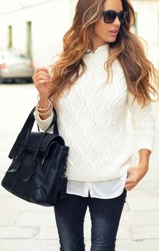 Un jersey de ochos de vestir con una camisa de vestir blanca (14 ... 41e0b8a8b175