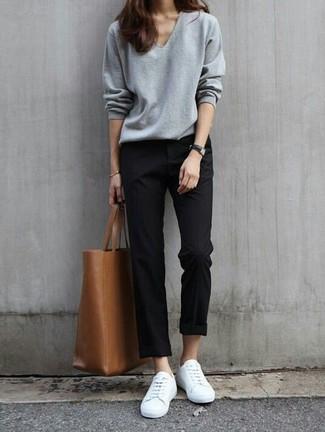 de blancos negro gris bolsa tenis chino Cómo combinar jersey pico pantalón FHngzqET