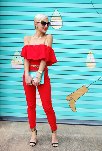 How to wear: red jumpsuit, black and gold leather heeled sandals, aquamarine leather clutch, tan leopard suede belt