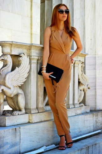 Beige Jumpsuit Outfits In Their 30s: Breathe new life into your current casual wardrobe with a beige jumpsuit. If you want to effortlessly dress up your ensemble with a pair of shoes, why not complete your ensemble with black leather heeled sandals?