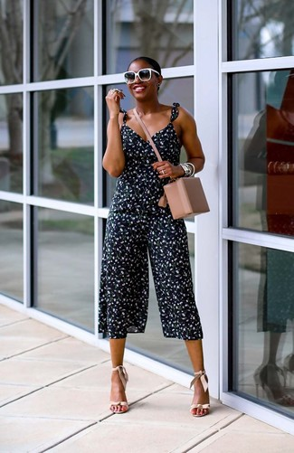 How to wear: navy floral jumpsuit, beige leather heeled sandals, beige leather crossbody bag, black and white sunglasses